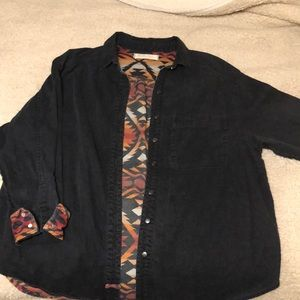 Free people black and Aztec patterned button up